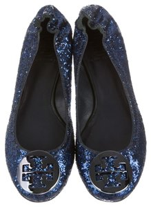 Tory Burch Glitter Navy Embellished Blue Flats