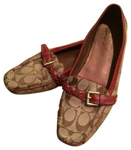 Coach Beige and Burgundy Flats