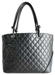 Chanel Cambon Quilted Calfskin Tote in Black