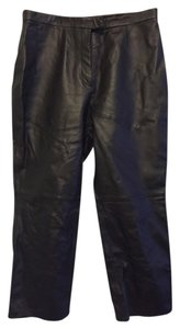Massini Leather Black Lined Slacks Petite Relaxed Pants Black Leather