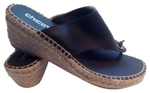 Chico's Black / natural fiber Sandals