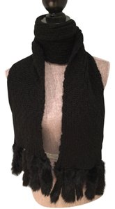 Black Knit Scarf with Rabbit Fur