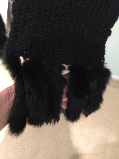 Other Black Knit Scarf with Rabbit Fur