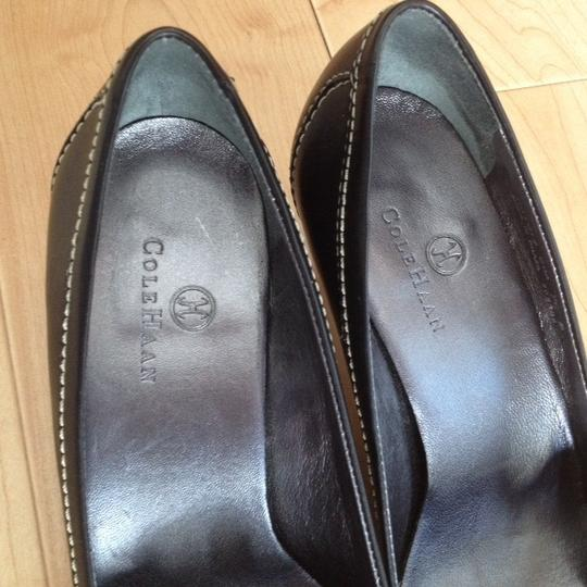 Cole Haan Silver Leather Heels Pumps Comfortable Brand Formal Wedding Bridal Black Mules
