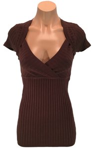 XOXO Ribbed Knit Pullover Top Brown
