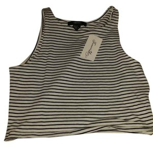 Forever 21 Crop Striped ivory/black stripes Halter Top