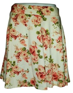 Forever 21 Mini Skirt floral peach and white