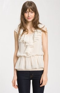 Other Nordstroms Ruffle Sheer Feminine Flirty Cream Dots Cream Cream Sheer Ruffled Top White