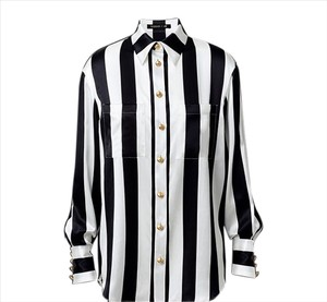 Balmain x H&M Silk Striped Gold Hardware Top Black/White