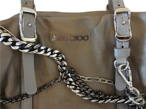 Jimmy Choo Leather Biker Tote in Taupe