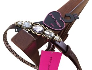 Betsey Johnson Betsey Johnson Brown/ Leopard Skinny Belt Stone/ Gold Trimmed Closure