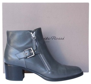 Gianvito Rossi Ankle Boot Zipper Buckle Grey Boots
