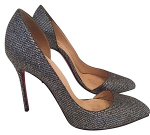 Christian Louboutin Red Sole Sparkle Glitter Grey Glitter Pumps