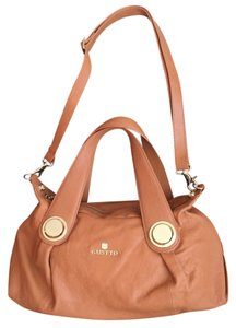 Gustto Tan Beige Crossbody Leather Folina Tote in Camel