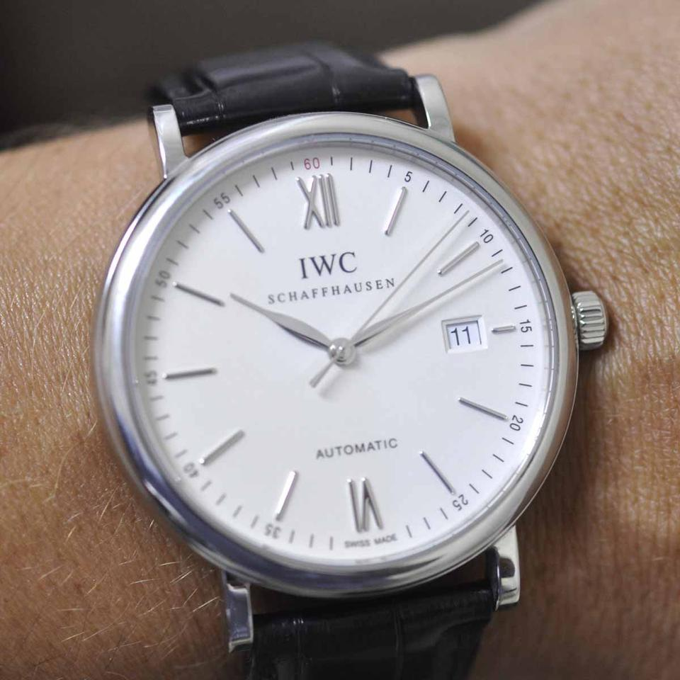 Iwc Silver Portofino 3565 Dial Black Leather Dress Watch 44 Off Retail
