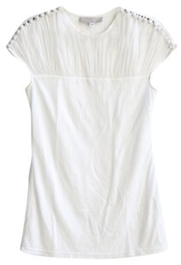 Katharine Kidd Covered Buttons Ruched Top White