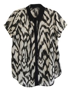 Forever 21 Animal Print Abstract Print Top Black, White