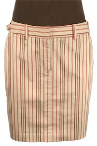 The Limited Stretch Cream Skirt Cranberry Brown Ivory