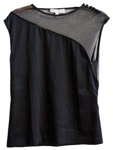 Katharine Kidd Asymmetrical Illusion Silk Top Black