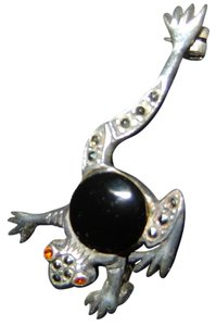 Other Vintage Leaping Frog , Marcasite, Onyx Sterling Silver Brooch