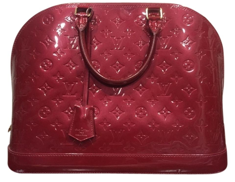 d20f36d2ab8d Louis Vuitton Alma Mm Pomme D amour Monogram Vernis Red Patent Leather  Satchel