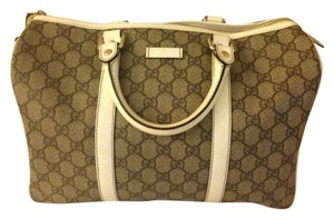 4f369df36a902a Gucci Top Handle Monogram Joy Boston Leather Tote in Taupe/White