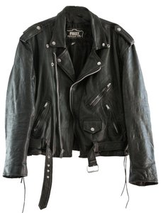 First Leather Vintage Moto Black Jacket
