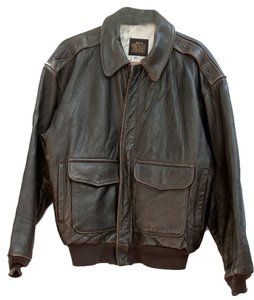 Aviarex Vintage Bomber Map Brown Jacket