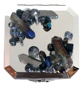 Starry Night (Black, Navy, Violet, & Gunmetal Colorway)- Jeweled Embellished Stainless Steel Compact Mirror