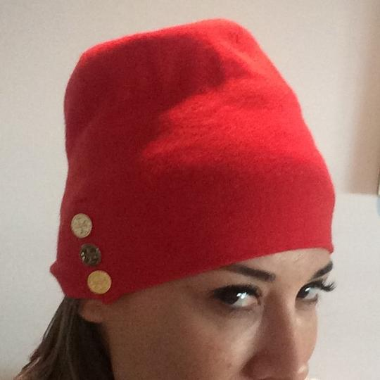 Tory Burch TORY BURCH Orange Cashmere Beanie w gold buttons