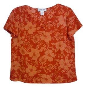 Judith Hart Scalloped Embroidered V-neck Top dark coral