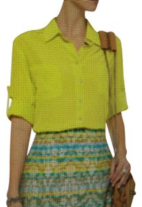 Chelsea Flower Button Down Shirt Citron