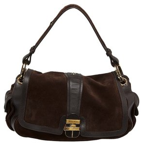 Jimmy Choo Suede Leather Gold Satchel in Brown