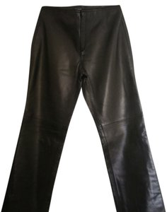 Banana Republic Leather Straight Pants Black Leather