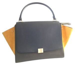 Céline Celine Trapeze Leather Tote in blue, green, yellow