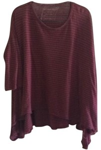 Free People T Shirt Burgundy striped