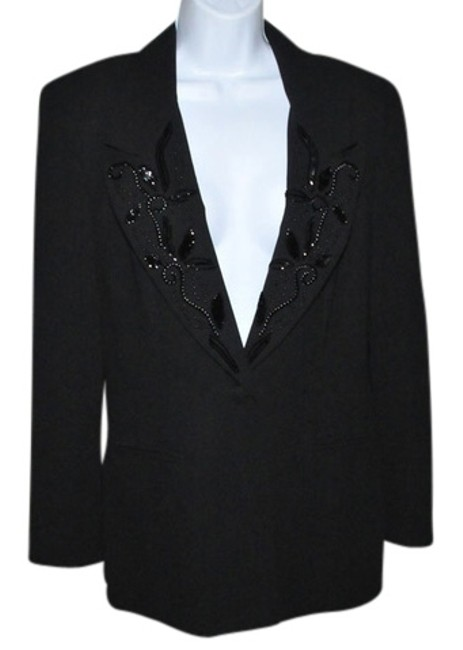 Christiano di Sartoria Privata Embellished Beads And Sequins On Collar Fully Lined Tailored Notched Collar Black Blazer