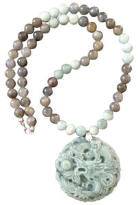 Other Sterling Silver Natural Jade/Labradorite Necklace
