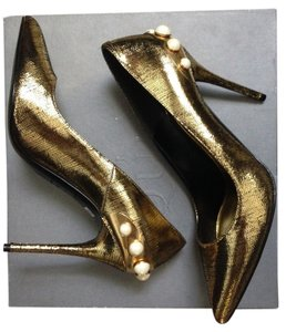 Alexander McQueen Heels Pear Metallic Gold Pumps