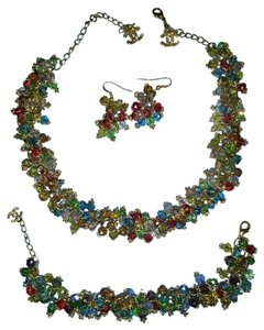 Quality Faux Sparkling Chanel Multicolored Crystal Matching Necklace, Earrings & Bracelet Set