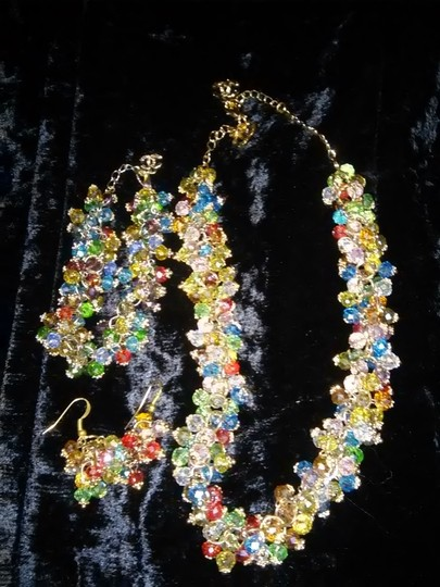 Other Quality Faux Sparkling Chanel Multicolored Crystal Matching Necklace, Earrings & Bracelet Set