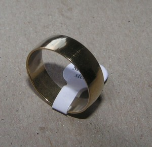 Plain Wide Gold Tone Stainless Steel Band Ring Free Shipping