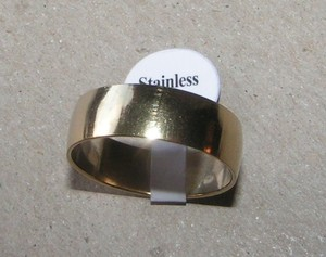 Wide Gold Tone Stainless Steel Wedding Band Free Shipping