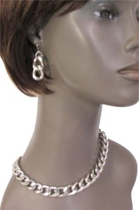Other Women Silver Chunky Metal Hip Hop Urban Necklace Earring Set