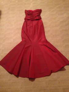 David's Bridal Red F81223 Dress