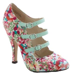 Mojo Moxy Leather Textile Confetti Pattern Floral Mint Blue Pink Strap Strapped Strappy Straps Spring Green Teal Turquoise Buckle Multi Pumps