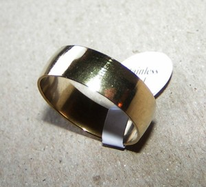 Plain Smooth Gold Stainless Band Ring Free Shipping
