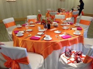 Orange and Pink Chair Covers Chair Sashes Napkins (Can Sell Separately) Tablecloth