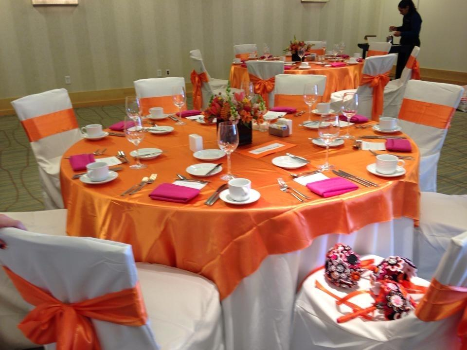 Orange And Pink Tablecloths Chair Sashes Napkins And Ivory