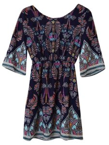Pink Owl short dress Royal Blue/Multi Open Back Above Knee Kimono Sleeve on Tradesy